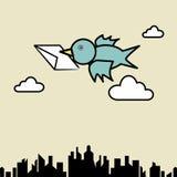 Bird sending letter. Illustration of bird sending letter fly over the city Stock Images