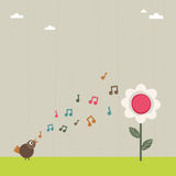 Bird serenading flower Stock Images
