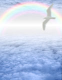 Bird in serene cloudscape Royalty Free Stock Images