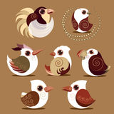 Bird set collection prehistoric color Royalty Free Stock Image