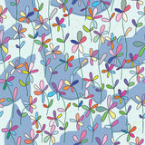 Bird Shadow Flowers Land Seamless Pattern_eps Royalty Free Stock Photography