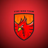 Bird in a Shield Vector Emblem or Logo Template. Fire Phoenix Illustration.. Perfect for Sport Team, League Labels. On Red Background Stock Photo