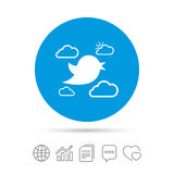 Bird sign icon. Social media symbol. Bird icon. Social media sign. Short messages symbol. Clouds with sun. Copy files, chat speech bubble and chart web icons Stock Images