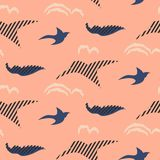 Bird silhouettes abstract seamless vector pattern. Stylized blue and pink repeat background Royalty Free Stock Photography