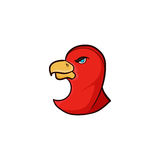 Bird simple icom with red color Stock Photos