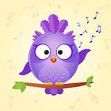 Bird sing. Illustration of funny icons bird that sings Stock Photography