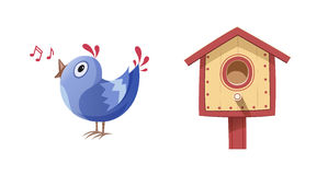 Bird sing song and nesting box Royalty Free Stock Image