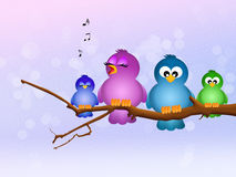 Bird singing on branch Stock Images