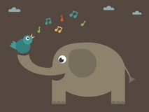 Bird singing on elephant Stock Photos