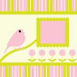 Bird Singing Flowers Stripes Background. Cute little bird singing with flowers and stripes background and banner with space for your text / copy Stock Photography