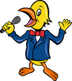 Bird singing karaoke microphone Stock Image