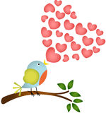 Bird singing a love heart song Royalty Free Stock Image