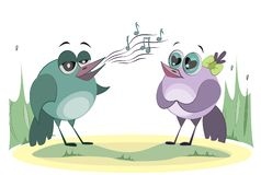 Bird sings songs to her friend. Love and feelings. Cute cartoon characters royalty free illustration