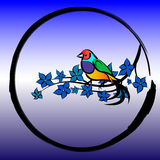 The bird sits on a branch with leaves in a circle Royalty Free Stock Images