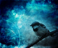 Bird sitting upon the branch illustration Royalty Free Stock Images