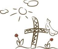 Bird sitting on a cross. Simple line-art illustration of a bird sitting on a cross Stock Image