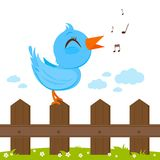 Bird sitting on a fence and singing. Royalty Free Stock Photo