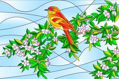 Bird sitting on Tree Stained glass Painting Royalty Free Stock Images