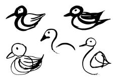 Bird sketches Stock Images