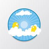 Bird in The sky. Couple Bird in The sky with circle background for flat illustration Stock Image