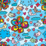 Bird sky flower style drawing seamless pattern Stock Photography