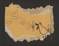 Bird song, grunge vector illustration