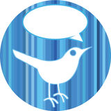 Bird with speech bubble. Illustration of bird on blue button with blank speech bubble; white background Stock Images