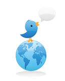Bird Spreading News Worldwide Royalty Free Stock Photos