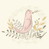 Bird with a sprig. cute birds. Hand drawn, cartoon style. suitable for printing on a t-shirt or sweatshirt, shirt design, print bird, sketch bird, Children's Stock Image