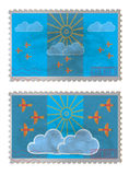 Bird stamp. Stamp with images of birds and clouds Stock Images