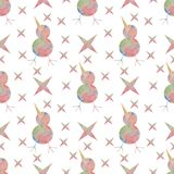 A bird and stars painted in watercolor. A seamless pattern. Stock Image