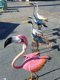 Bird statue art at market. Bird statues at farmers market Stock Photo