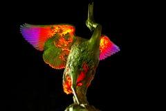 Bird statue. Illuminated bird statue on a dark background royalty free stock photo