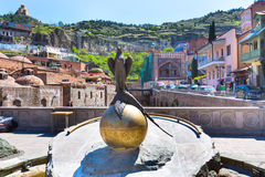 Bird statue and Sulfur Baths houses of Old Town of Tbilisi, Republic of Georgia Royalty Free Stock Images