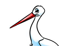Bird  stork cartoon illustration Royalty Free Stock Photo