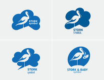 Bird stork set symbol. Stock Image