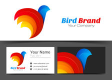Bird Stylized Corporate Logo and Business Card Sign Template. Creative Design with Colorful Logotype Visual Identity Composition Made of Multicolored Element Stock Photography