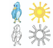 Bird and sun and each outline. Illustration of bird and sun with each outline can be use in design  element or coloring book Stock Images