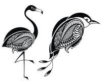 Bird symbols on white Stock Photo