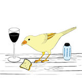 Bird on a table Royalty Free Stock Images