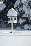 Bird table in the snow Stock Photo