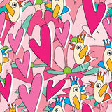Bird Talk Love Story Seamless Pattern. Illustration bird talk love story seamless pattern pink flowers background Royalty Free Stock Images