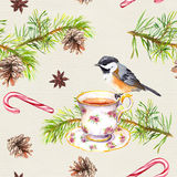 Bird, tea cup, pine tree branch. Repeating pattern. Watercolor Stock Photography
