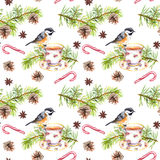 Bird, tea cup, pine tree branch. Repeating pattern. Watercolor Stock Photo
