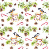 Bird, tea cup, pine tree branch. Repeating pattern. Watercolor Royalty Free Stock Photography