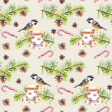 Bird, tea cup, pine tree branch. Repeating pattern. Watercolor. Bird on tea cup with pine tree branch, cone, candy cane. Repeating pattern. Watercolor Royalty Free Stock Image