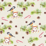 Bird, tea cup, pine tree branch. Repeating pattern. Watercolor. Bird on tea cup with pine tree branch, cone, candy cane. Repeating pattern. Watercolor Stock Image