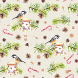 Bird, tea cup, pine tree branch. Repeating pattern. Watercolor Royalty Free Stock Image