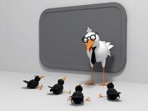Bird teacher and chicks Royalty Free Stock Image