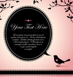 A bird with a text bubble. Vintage design of a bird with a text bubble and tree branches above Stock Photography